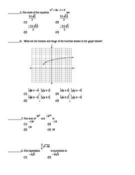 Common Core Algebra 2 Unit Assessment Radicals Functions Functions
