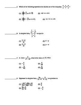 Common Core Algebra 2 Unit Assessment Rational Functions