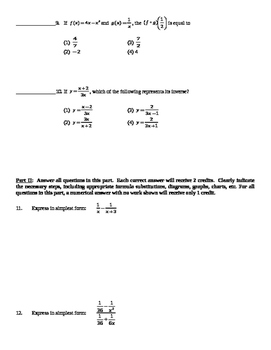 Common Core Algebra 2 Unit Assessment Rational Functions