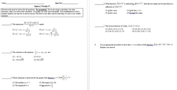 Common Core Algebra 2 Weekly 1-8