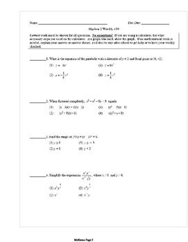 Common Core Algebra 2 Weekly 10