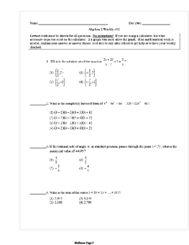 Common Core Algebra 2 Weekly 12