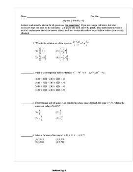Common Core Algebra 2 Weekly 12