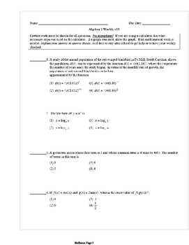 Common Core Algebra 2 Weekly 13