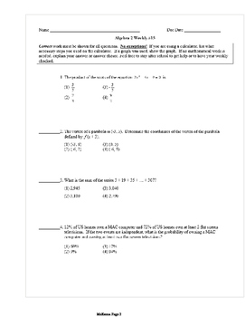 Common Core Algebra 2 Weekly 15