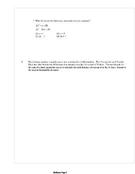 Common Core Algebra 2 Weekly 16