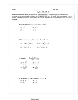 Common Core Algebra 2 Weekly 2