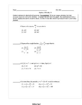 Common Core Algebra 2 Weekly 3