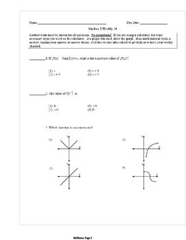 Common Core Algebra 2 Weekly 4