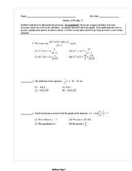 Common Core Algebra 2 Weekly 7