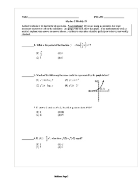 Common Core Algebra 2 Weekly 8