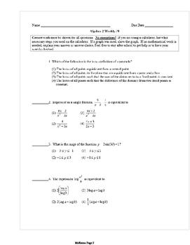 Common Core Algebra 2 Weekly 9