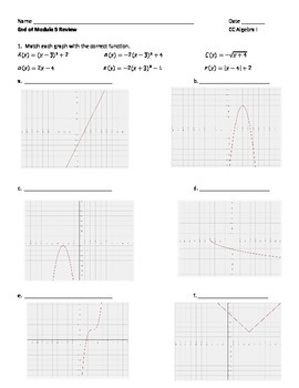 Common Core Algebra End of Module 5 Review Packet