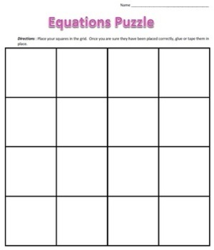 Common Core - Algebraic Equations Puzzle - Whole Numbers Only