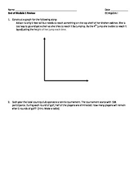 Common Core Algebra End of Module 1 Review Packet