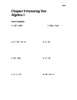 Common Core Algebra I Factoring Assessment