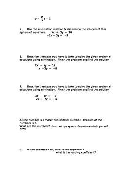 Common Core Algebra I Final Exam Review