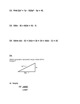 Common Core Algebra I Polynomials Assessment