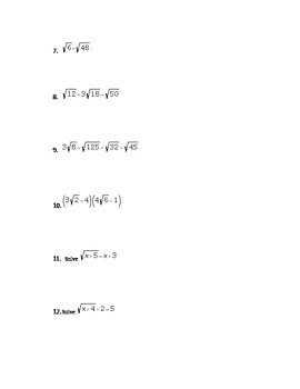 Common Core Algebra I Radicals Assessment