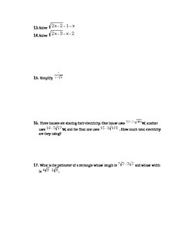 Common Core Algebra I Radicals Assessment