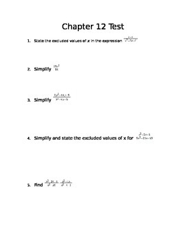 Common Core Algebra I Rational Expressions Assessment