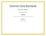 Common Core Algebra I Student Record Book