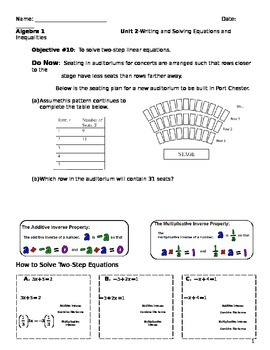 Unit 2 objective 10: Solving linear equations