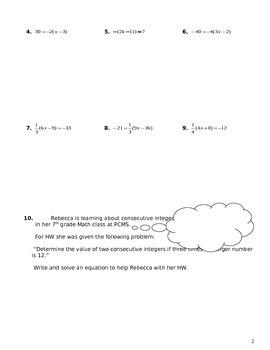 Unit 2 Objective 11: Solving linear equations involving distribution
