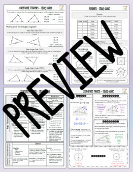 Common Core Geometry Study Guide Review Sheet Bundle - NYS Regents