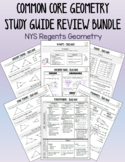 Common Core Geometry Study Guide Review Sheet Bundle - NYS