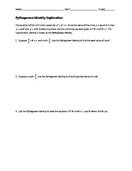 Common Core Algebra Task - Pythagorean Identity Exploration