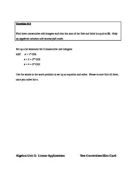 Common Core Algebra Test Correction Hint Cards (Unit Exam Linear Applications)