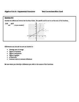 Common Core Algebra Test Corrections Hint Cards Exponential Functions