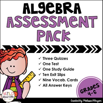 Algebra (order of operations/writing expressions) Assessments - Common Core