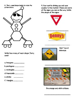 Geometry Test I- Common Core Aligned 2nd Grade