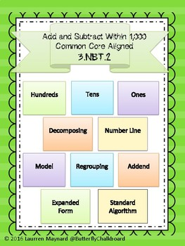 Common Core Aligned 3.NBT.2 Adding and Subtracting within 1,000 Bundle