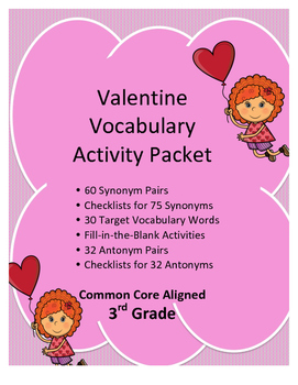 Common Core Aligned 3rd Grade Valentine Vocabulary Activity Packet
