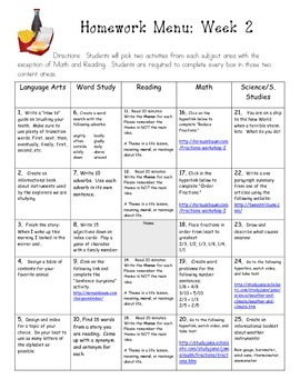 Common Core Aligned 4th Grade Q2 Homework Menus (all content areas)
