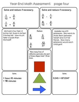 Common Core Aligned 8-Page End of Year Math Assessment for Fourth Grade