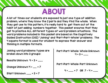 Common Core Addition Word Problem Journal Pages