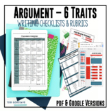 Common Core 6 Traits Argumentative Writing Rubrics - 6, 7,