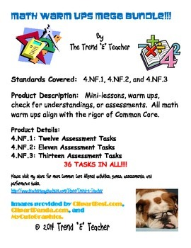 Common Core Aligned Assessment Tasks BUNDLE:  NF.1, NF.2, NF.3