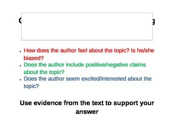 Common Core Aligned Author's Purpose Questioning