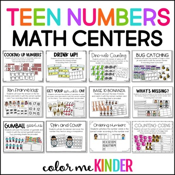 TEEN Number Center Game CCSS Aligned