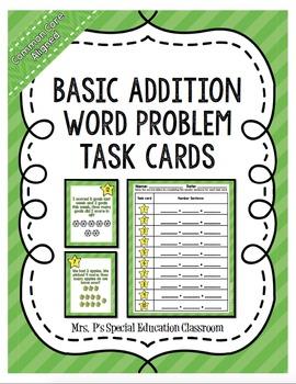 Common Core Aligned Basic Addition Word Problem Task Cards Freebie