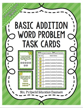 Common Core Aligned Basic Addition Word Problem Task Cards