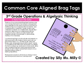 Common Core Aligned Brag Tags: 3rd Grade Operations & Algebraic Thinking