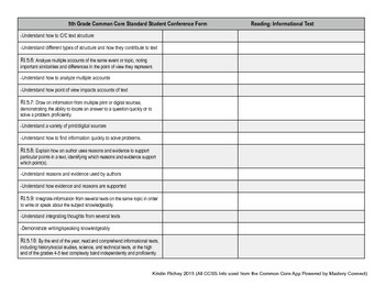 Common Core Aligned Conference Form- 5th Grade- Detailed Version