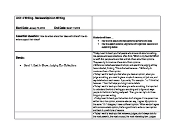 Common Core Aligned Curriculum Map for Unit 4 Opinion Writing