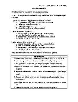 Common Core Aligned DOL Assessment Quarter 1